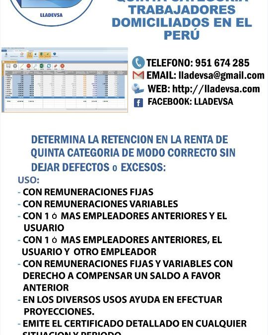 SOFTWARE PARA CALCULO DE RETENCIONES DE QUINTA CATEGORIA